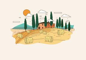 Vecteur de paysage de Toscane