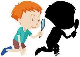 garçon avec une loupe en couleur et silhouette vecteur