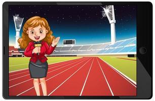 actualités sportives sur écran de tablette isolé