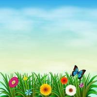 un jardin sous le ciel bleu clair avec un papillon vecteur