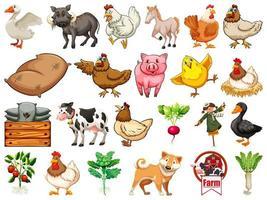 ensemble d & # 39; animaux de la ferme vecteur