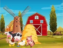 scène de ferme avec des animaux de la ferme à la ferme vecteur
