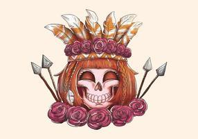 Boho Femme Crâne Souriant Avec Flèche Roses Et Plumes vecteur