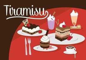 Tiramisu et set de desserts vecteur