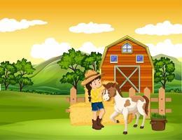 scène de ferme avec fille et cheval à la ferme vecteur
