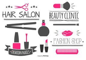 Collection d'étiquettes et d'éléments de beauté