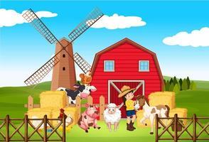 scène de ferme avec fermier et nombreux animaux à la ferme