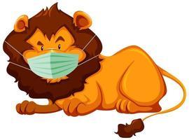 personnage de dessin animé de lion portant un masque