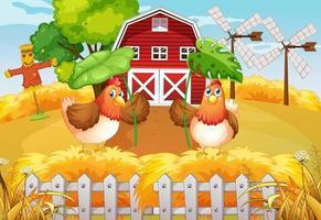fond de thème de ferme avec des animaux de la ferme vecteur