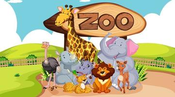 groupe d & # 39; animaux avec signe de zoo vecteur
