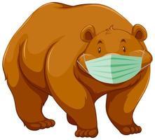 personnage de dessin animé ours portant un masque vecteur