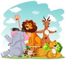 animaux de zoo dans le fond de la nature sauvage vecteur