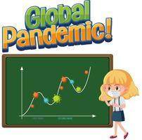 pandémie mondiale de coronavirus avec graphique de la deuxième vague vecteur