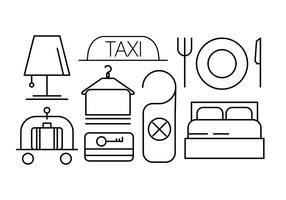 Ensemble d'icônes linéaires d'hôtels vecteur