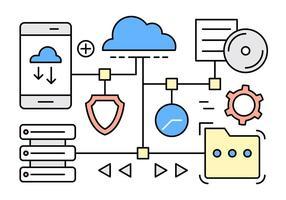 Éléments vectoriels en ligne du Cloud Computing vecteur