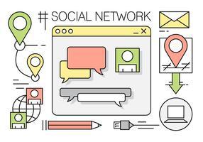 Éléments gratuits du réseau social vecteur