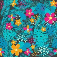 modèle sans couture tropical avec des feuilles de palmier et des fleurs vecteur