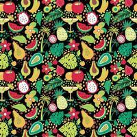 motif hawaïen avec fruits tropicaux et fleurs
