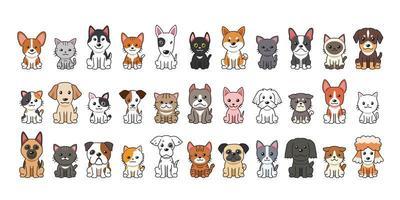chats et chiens de dessin animé