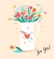 bouquet de fleurs dans la cafetière blanche