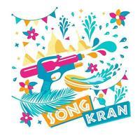 fond de festival songkran vecteur