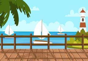 Vue sur la plage de Boardwalk vecteur