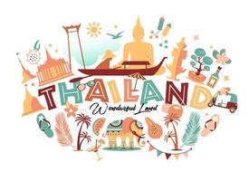 collection de symboles thaïlandais vecteur