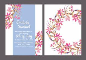 Vector Colorul Branches Wedding Invite