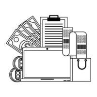 symboles de paiement en ligne crypto-monnaie bitcoin en noir et blanc