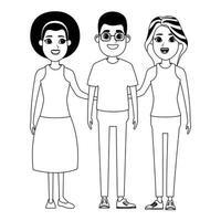 groupe de personnages de dessins animés de personnes en noir et blanc