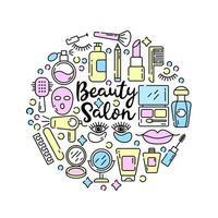 cosmétiques et icônes de beauté dans un style linéaire