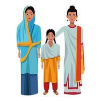 personnages de dessins animés de famille indienne