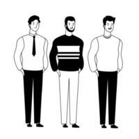 personnages de dessins animés hommes en noir et blanc vecteur