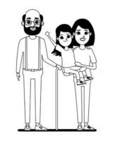 personnages de dessins animés de famille en noir et blanc