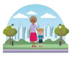 personnages de dessins animés de famille à l'extérieur