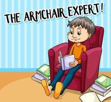affiche idiome pour expert en fauteuil vecteur