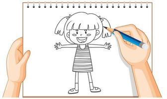 dessin à la main du contour de fille heureuse vecteur