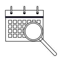 caricature d'icône de calendrier en noir et blanc