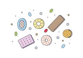 Vecteur gratuit de cookies et de bonbons