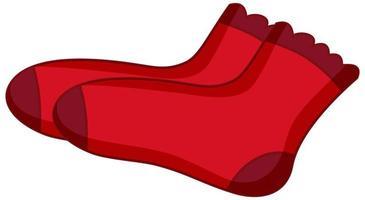 chaussettes rouges pour fille en style cartoon isolé sur fond blanc vecteur