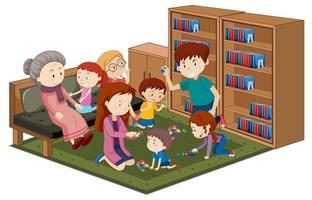Granny avec petits-enfants dans la bibliothèque isolé sur fond blanc