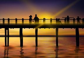 Belle promenade au coucher du soleil