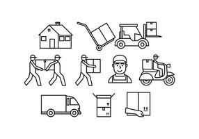 Ligne de déménagement gratuite icône vecteur