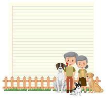 modèle de cadre de bordure avec vieux couple et leur fond de chien vecteur