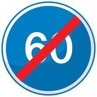 Panneau routier bleu limite de vitesse minimale 60 isolé sur fond blanc