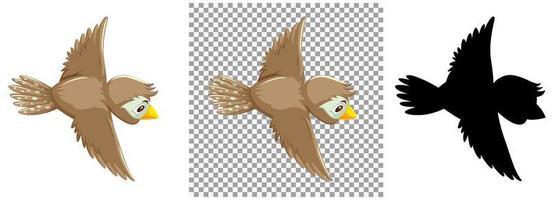 personnage de dessin animé mignon oiseau moineau