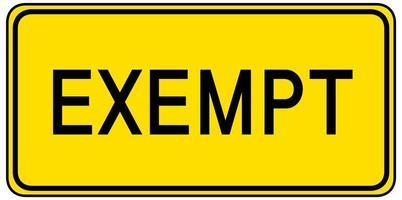 signe d'exemption isolé sur fond blanc