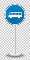 Panneau d'arrêt de bus bleu avec support isolé sur fond transparent