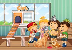 enfants jouant avec leurs animaux de compagnie dans la scène de la pièce
