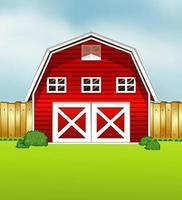 style de dessin animé de grange rouge sur fond vert et ciel vecteur